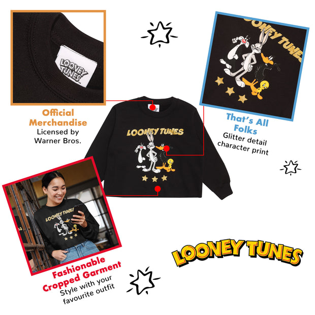 Looney Tunes Group Stars Girls Cropped Sweatshirt | Official Merchandise Back Image by Popgear