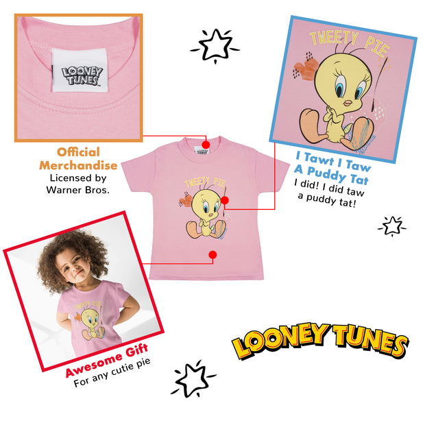 Looney Tunes Tweety Pie Girls T-Shirt | Official Merchandise Back Image by Popgear