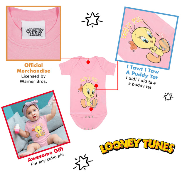 Looney Tunes Tweety Pie Baby Girls Romper | Official Merchandise Back Image by Popgear