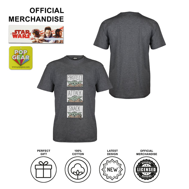 Star Wars The Mandalorian The Child Protect Attack Snack Men's T-Shirt | Official Merchandise Angle Image 2 by Popgear
