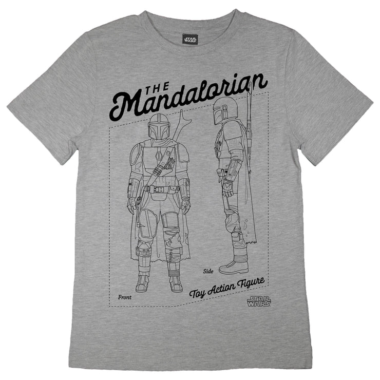 Star Wars The Mandalorian Action Figure Boys T-Shirt | Official Merchandise Front Image by Popgear