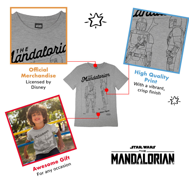 Star Wars The Mandalorian Action Figure Boys T-Shirt | Official Merchandise Back Image by Popgear