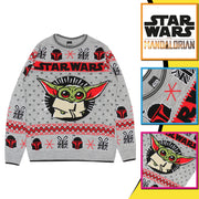 Star Wars The Mandalorian The Child Christmas Men's Knitted Jumper - Popgear