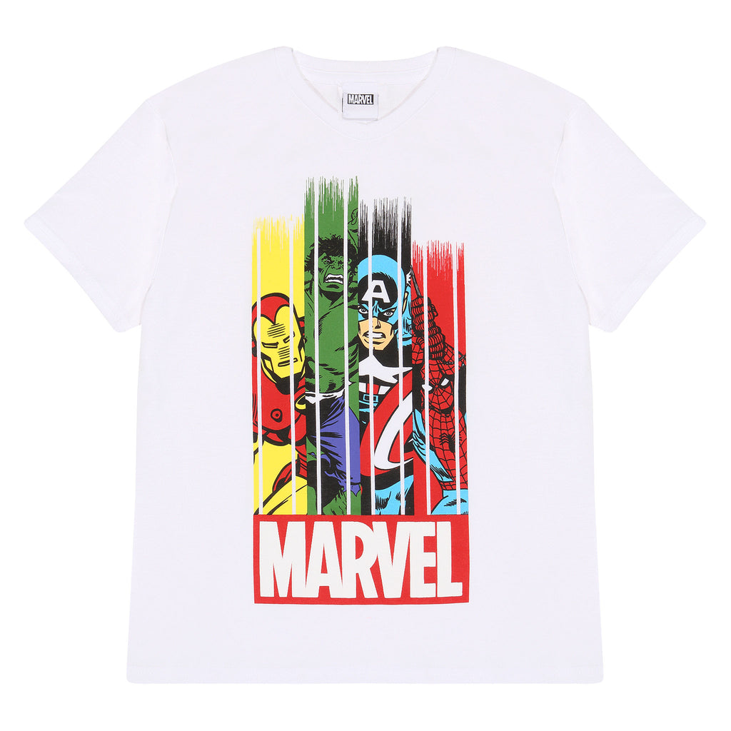 Marvel Comics Team Stripes Boys T-Shirt | Official Merchandise Front Image by Popgear