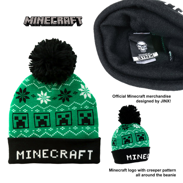 Minecraft The Creeper Fair Isle Boys Beanie with Pom - Popgear