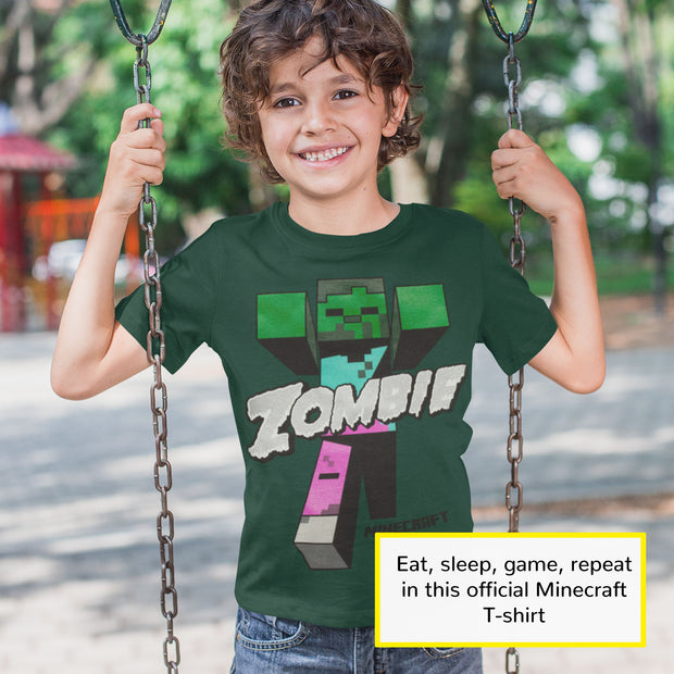 Minecraft Beware Zombies Boys T-Shirt | Official Merchandise Angle Image 1 by Popgear