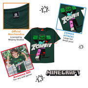 Minecraft Beware Zombies Boys T-Shirt | Official Merchandise Back Image by Popgear