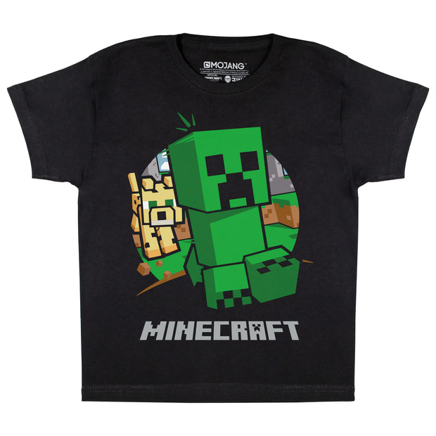 Minecraft Creeper Chase Boys T-Shirt | Official Merchandise Front Image by Popgear