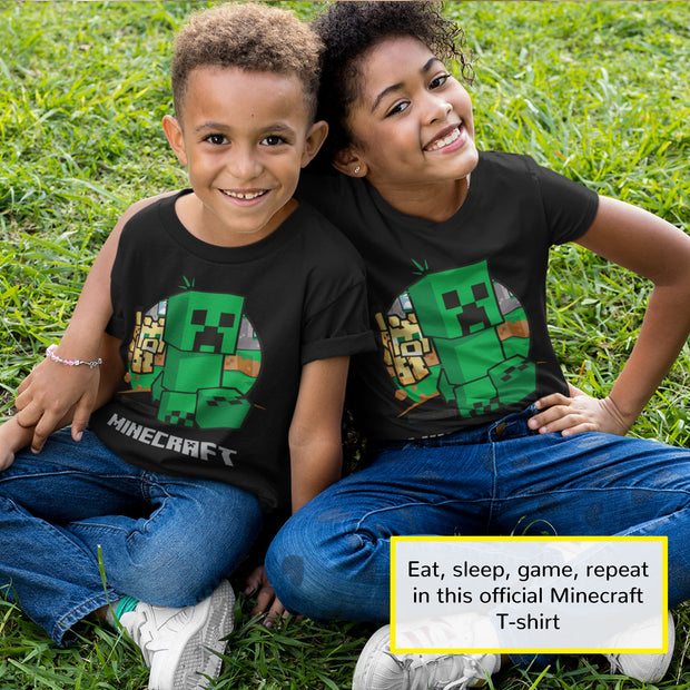 Minecraft Creeper Chase Boys T-Shirt | Official Merchandise Angle Image 2 by Popgear