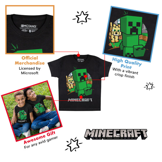 Minecraft Creeper Chase Boys T-Shirt | Official Merchandise Back Image by Popgear