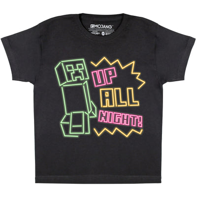 Minecraft Up All Night Boys T-Shirt - Popgear