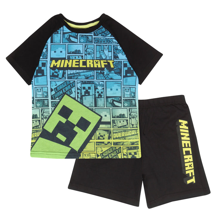 Minecraft Creeper Comic Boys Short Pyjamas Set | Official Merchandise Front Image by Popgear
