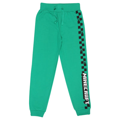 Minecraft Creeper Checkerboard Stripe Boys Jogging Bottoms | Official Merchandise Front Image by Popgear