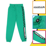 Minecraft Creeper Checkerboard Stripe Boys Jogging Bottoms | Official Merchandise Back Image by Popgear
