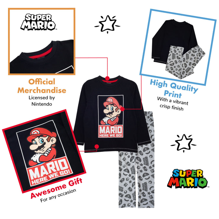 Super Mario Here We Go Boys Long Pyjamas Set - Popgear