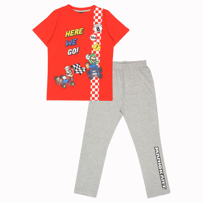 Super Mario Here We Go Boys Long Pyjamas Set | Official Merchandise Front Image by Popgear
