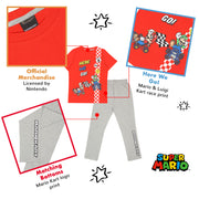 Super Mario Here We Go Boys Long Pyjamas Set | Official Merchandise Back Image by Popgear