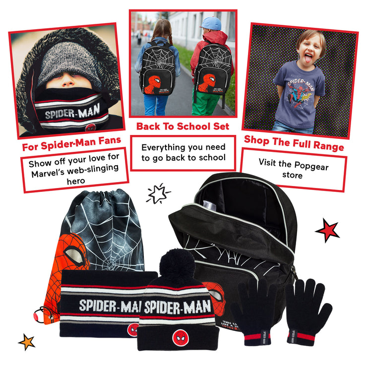 Marvel Comics Spider-Man Back To School Boys Backpack Set | Official Merchandise Back Image by Popgear