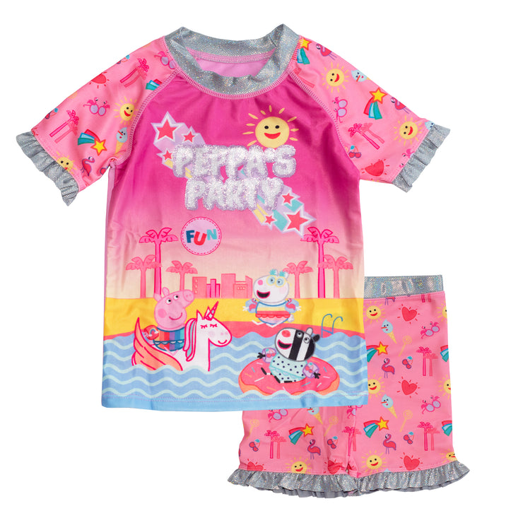 Peppa Pig Party Girls Swimming Top and Shorts - Popgear