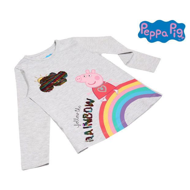 Peppa Pig Follow The Rainbow Girls Long Sleeve T-Shirt | Official Merchandise Angle Image 1 by Popgear