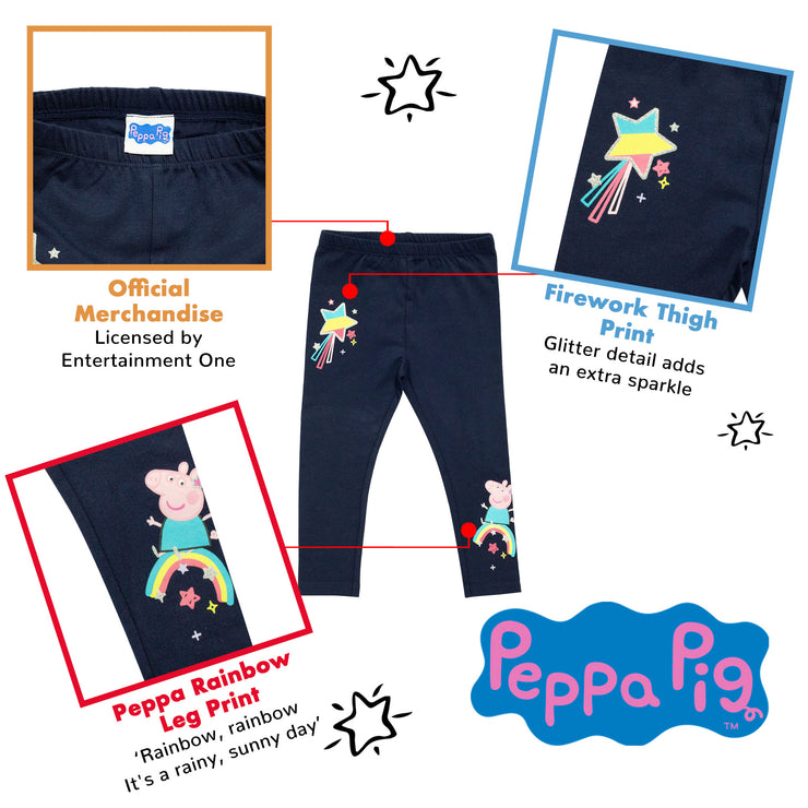 Peppa Pig Rainbows Girls Leggings | Official Merchandise Back Image by Popgear