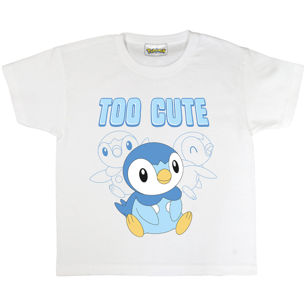 Pokemon Piplup Too Cute Boys T-Shirt | Official Merchandise Front Image by Popgear