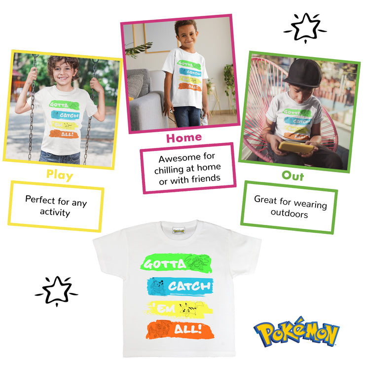 Pokemon Catch Em All Neon Boys T-Shirt | Official Merchandise Angle Image 1 by Popgear
