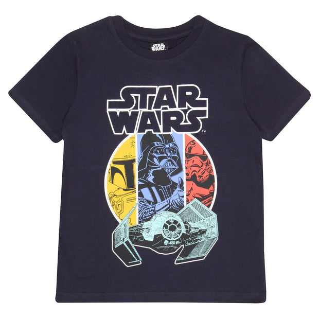 Star Wars Vader and Boba Fett Boys T-Shirt | Official Merchandise Front Image by Popgear