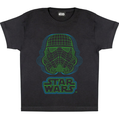 Star Wars Stomtrooper Wireframe Helmet Boys T-Shirt | Official Merchandise Front Image by Popgear