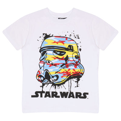 Star Wars Stormtrooper Bright Camo Helmet Boys T-Shirt | Official Merchandise Front Image by Popgear