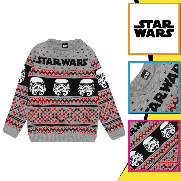 Star Wars Stormtroopers Boys Knitted Jumper - Popgear
