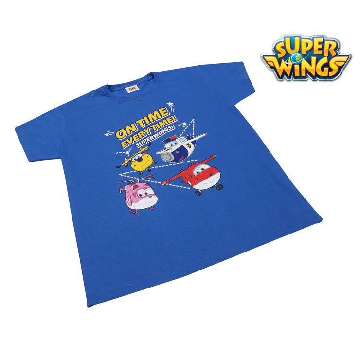 Super Wings On Time Every Time Boys T-Shirt | Official Merchandise Angle Image 1 by Popgear