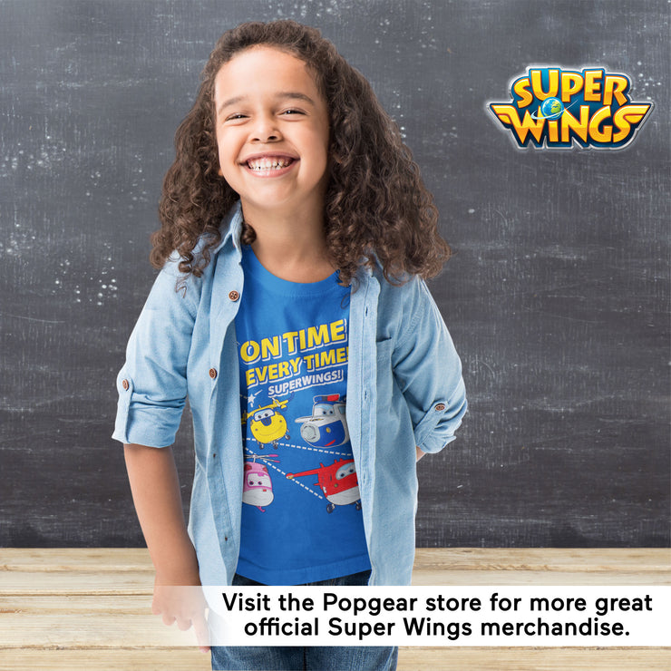 Super Wings On Time Every Time Boys T-Shirt | Official Merchandise Angle Image 2 by Popgear