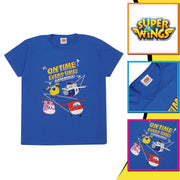 Super Wings On Time Every Time Boys T-Shirt | Official Merchandise Back Image by Popgear