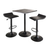 Winsome Obsidian 3pc Table Set, Square Table Counter Height with 2 Airlift Stools all Black