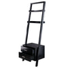 Winsome Bellamy Leaning Shelf w/Storage in Black Finish