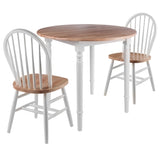 Winsome Sorella 3pc Set Round Drop Leaf Table with Windsor Chairs
