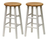 "Winsome Tabby 2-Pc 24"" Bar Stool Set Natural & White"