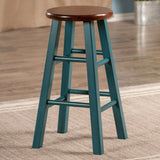 "Winsome Ivy 24"" Counter Stool Rustic Teal w/ Walnut Seat"