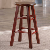 "Winsome Ivy 24"" Counter Stool Rustic Maroon w/ Walnut Seat"