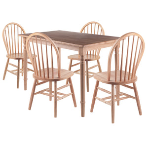 Winsome Ravenna 5pc Dining Table with Windsor Chairs