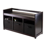 Winsome Addison 4pc Storage Bench with 3 Foldable Fabric baskets in Black
