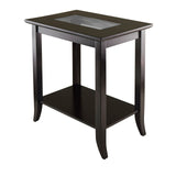Winsome Genoa Rectangular End Table with Glass Top and shelf
