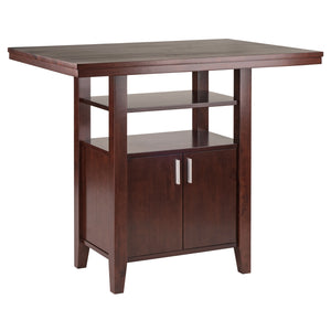 Winsome Albany High Table with Cabinet and Shelf in Walnut Finish