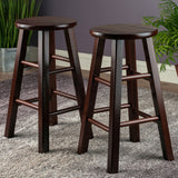 "Winsome Pacey 2-Pc 24"" Bar Stool Set Antique Walnut"