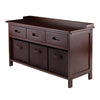 Winsome Adriana 4-Pc Storage Bench Set with 3 Foldable Chocolate Fabric Baskets