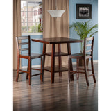 Winsome Orlando 3-Pc Set High Table, 2 Shelves w/ 2 Ladder Back Stools