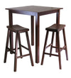 Winsome Parkland 3-Pc Square High/Pub Table Set with 2 Saddle Seat Stools