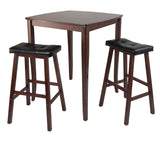 Winsome 3-Pc Inglewood High/Pub Dining Table with Cushioned Saddle Stool