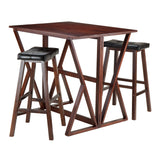 "Winsome Harrington 3-Pc Drop Leaf High Table, 2 -29"" Cushion Saddle Seat Stools"